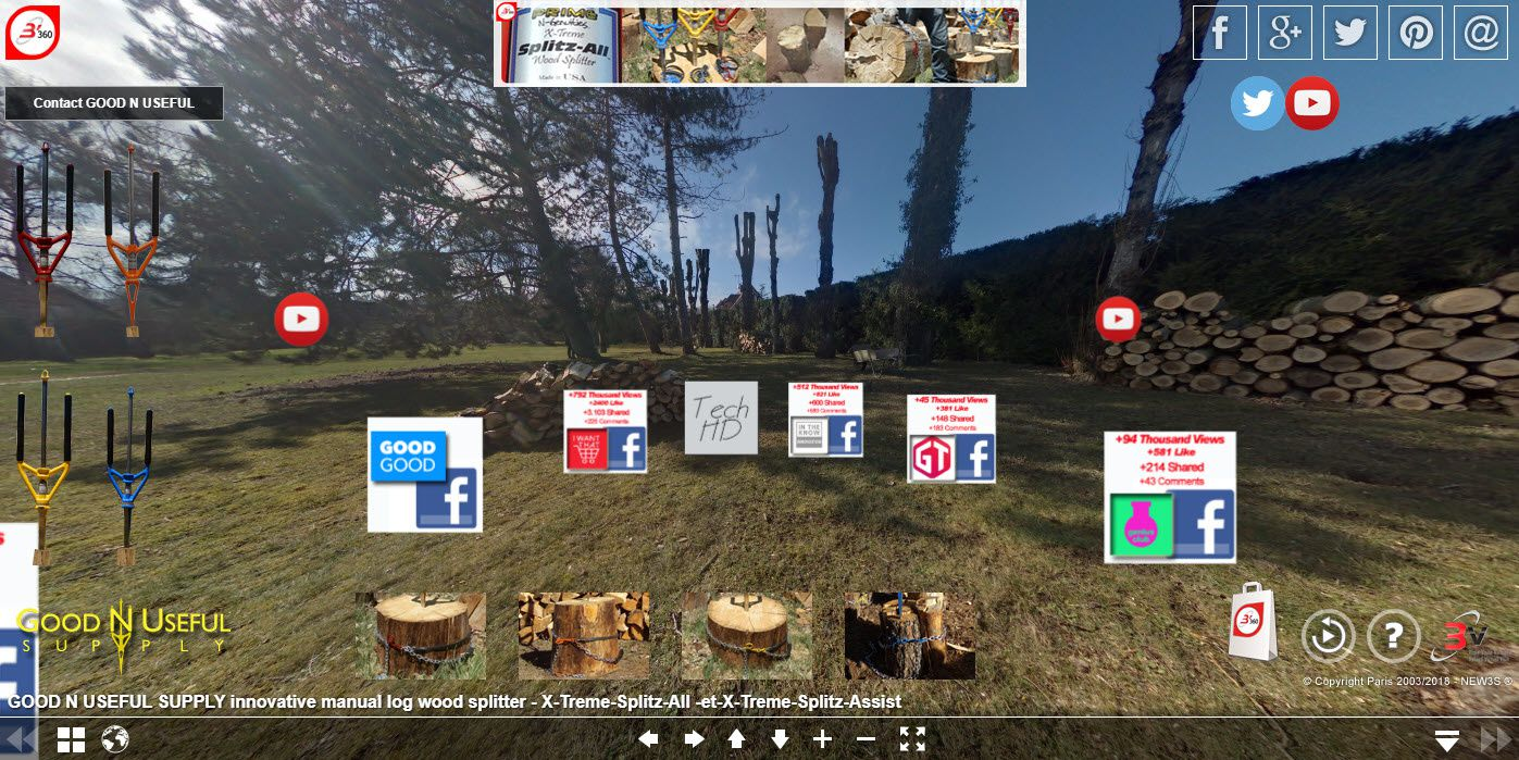 Splitz-All 360-degree panoramic view exploration Splitz-All the innovative splitting wood system Illustrated by our 360° panoramic view