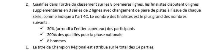 Championnat de France Individuel Elite - Phase régionale - SAINT BRIEUC 28/1/2018 - Le résultat
