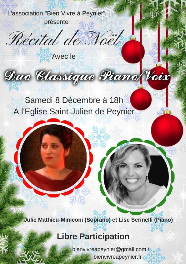 Récital de Noël - Duo Classique Piano/Voix, le 8 décembre à 18h en l'église Saint-Julien de Peynier