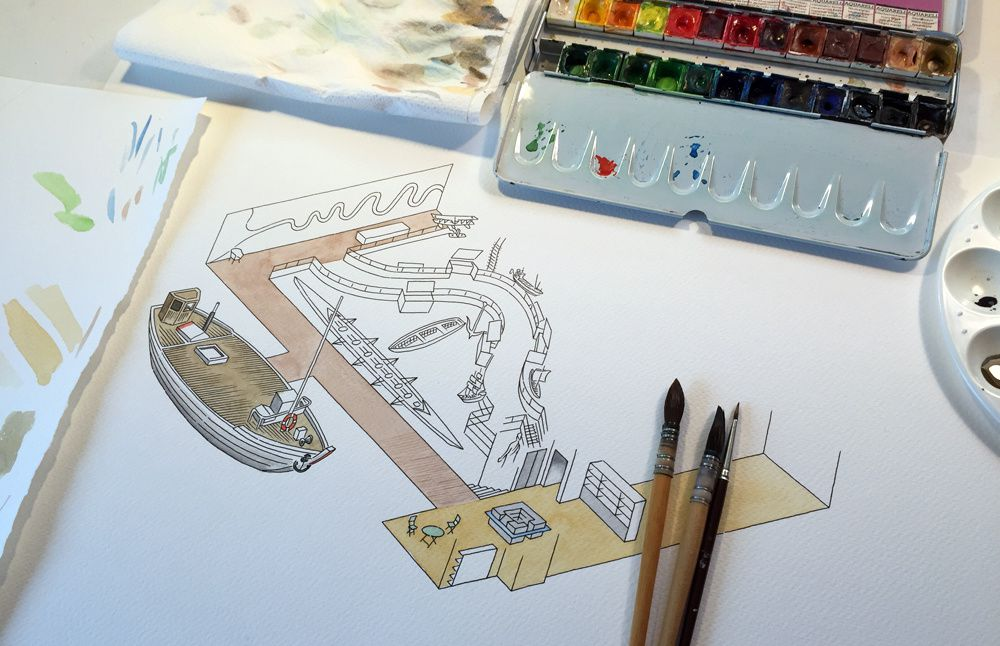 Réalisation à l'aquarelle de niveau -1 de MuséoSeine - Jacques Sourd Illustrateur