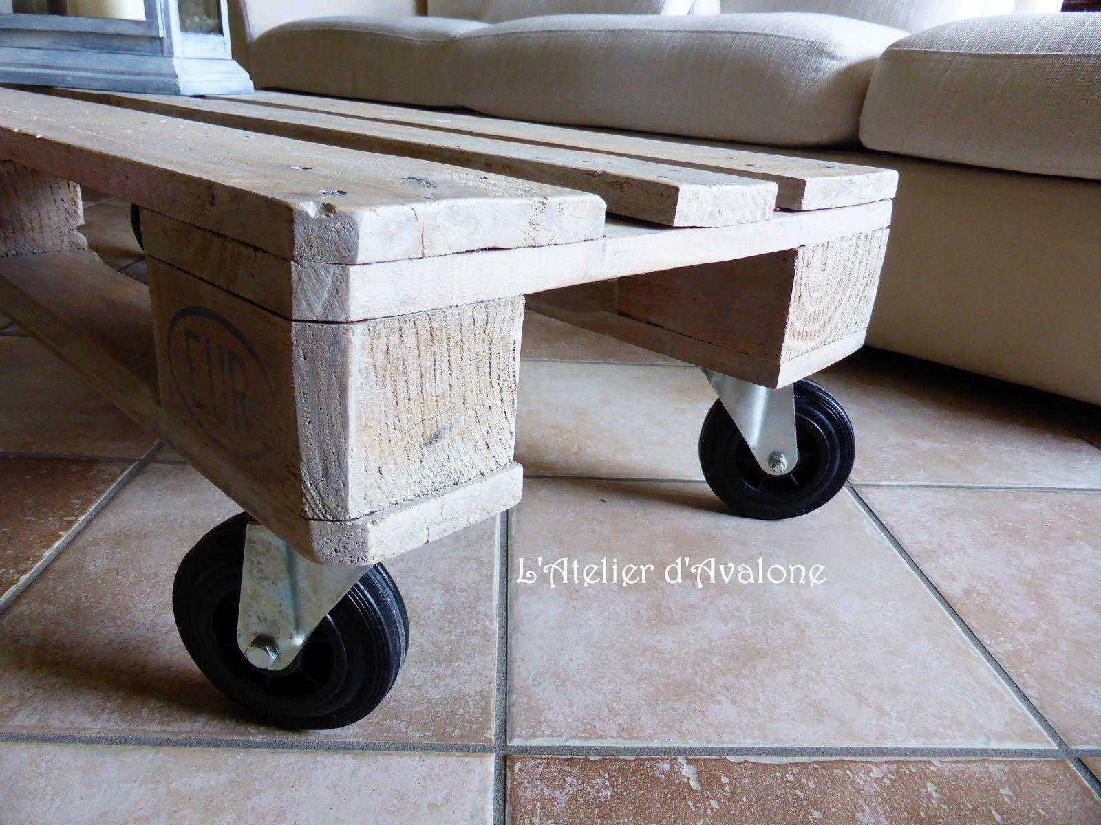 """Création d'une table basse au style """"Atelier"""" à partir d'une palette industrielle en bois."""