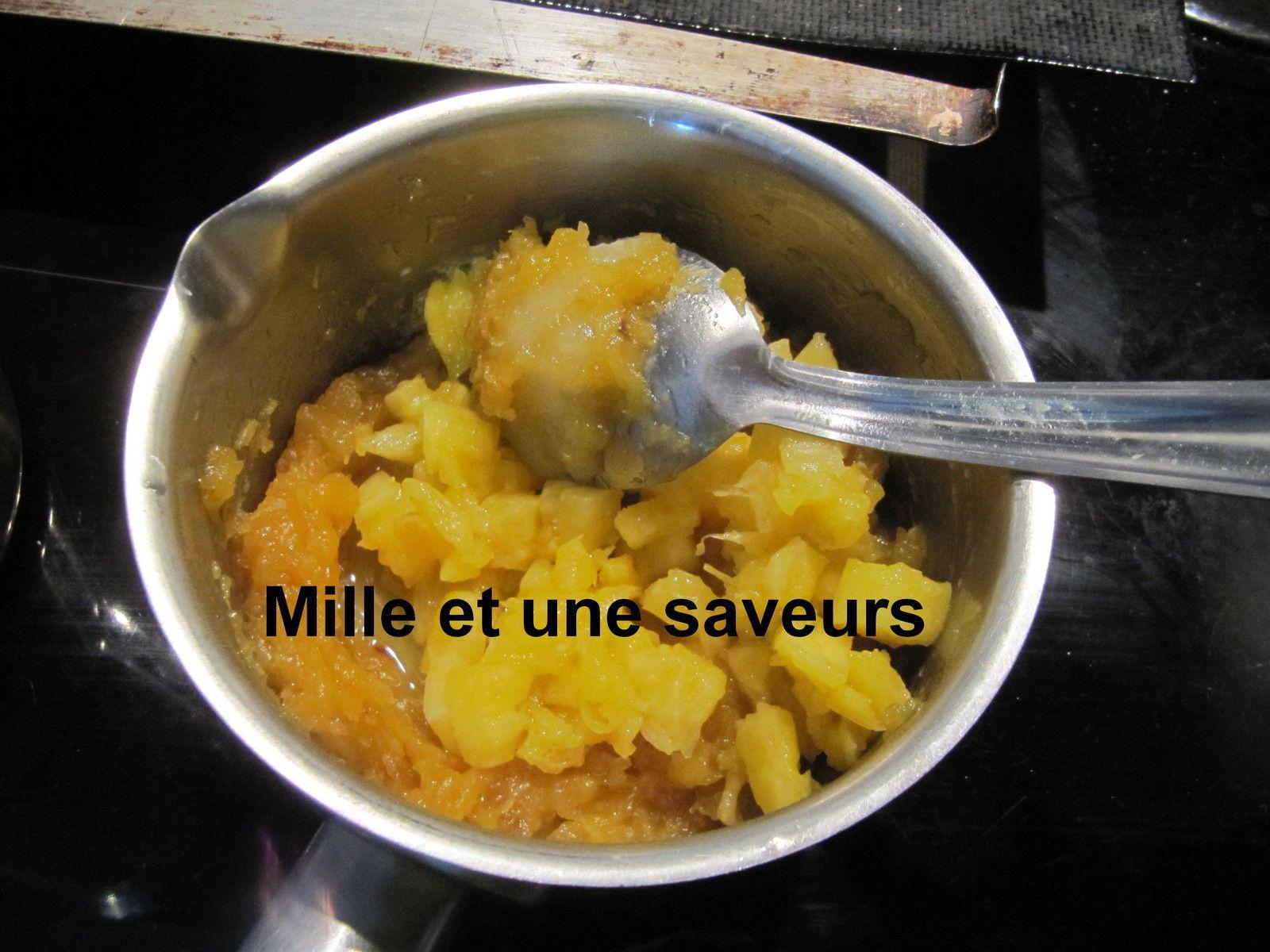 Entremet noix de coco, mangue, ananas