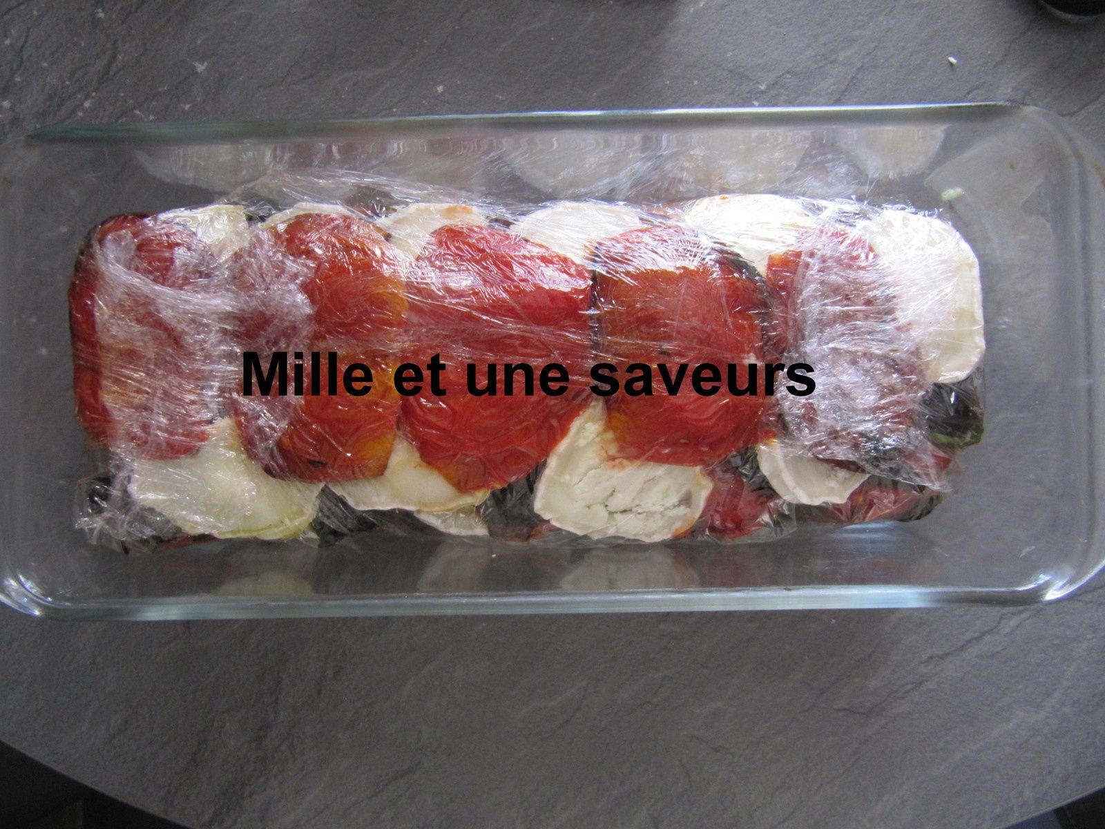 Terrine de tomates confites avec chèvre et olives