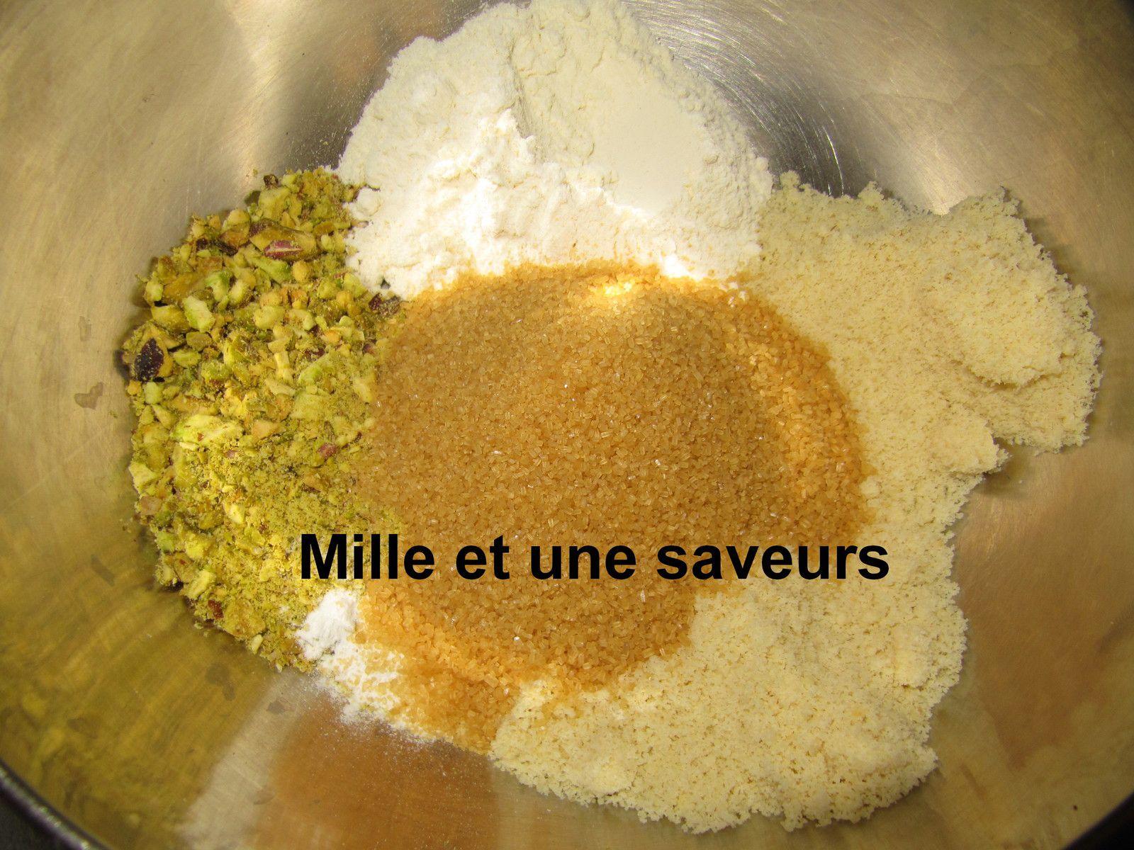 Gâteau pistache, fleur d'orangée et l'huile d'olive