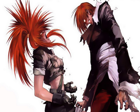 "Leona et Iori souffrant du ""Riot of the Blood"""