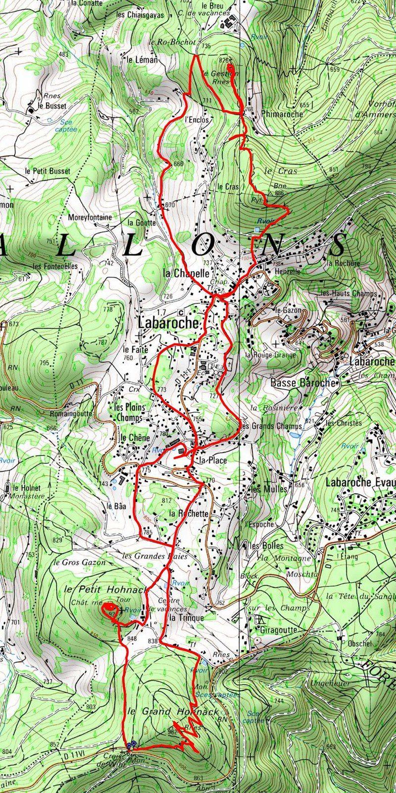 L'itinéraire de la randonnée du 26 octobre