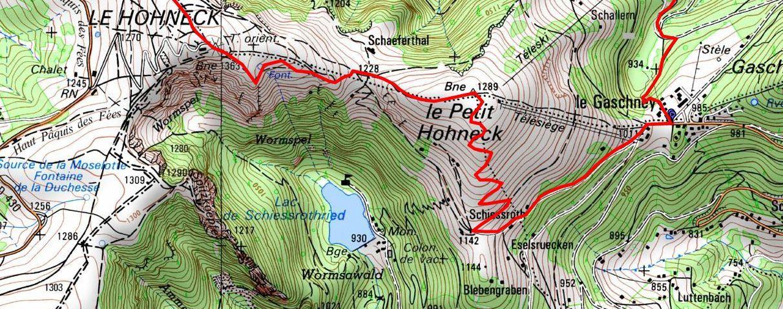 Rando-raquettes du 15 février, l'itinéraire prévu. © GEOPORTAIL