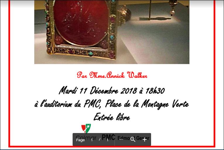 Conférence à l'auditorium du PMC le 11 décembre 2018 à 18h30