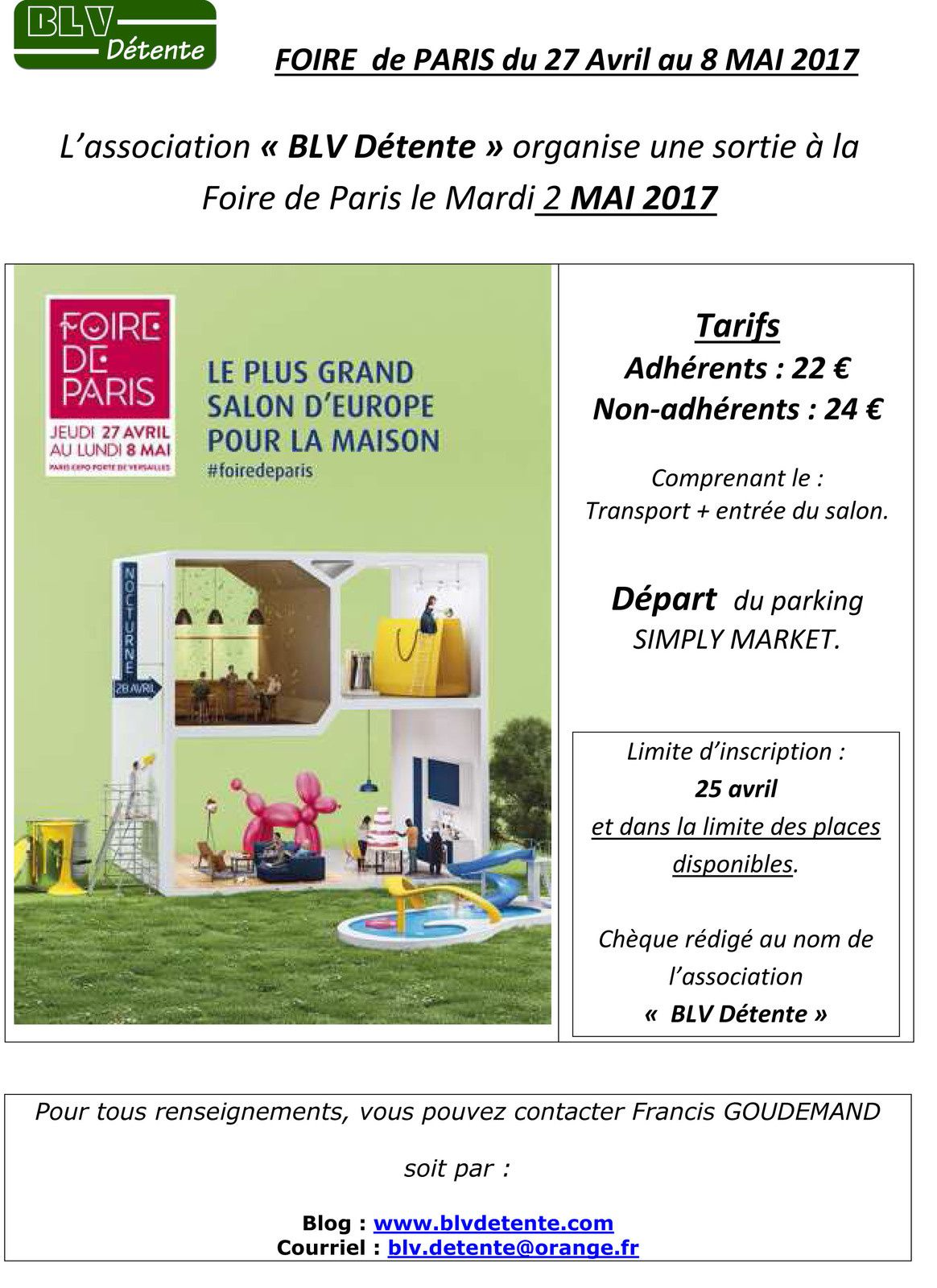 mardi 2 mai 2017 sortie d tente la foire de paris association blv d tente breuil le vert. Black Bedroom Furniture Sets. Home Design Ideas