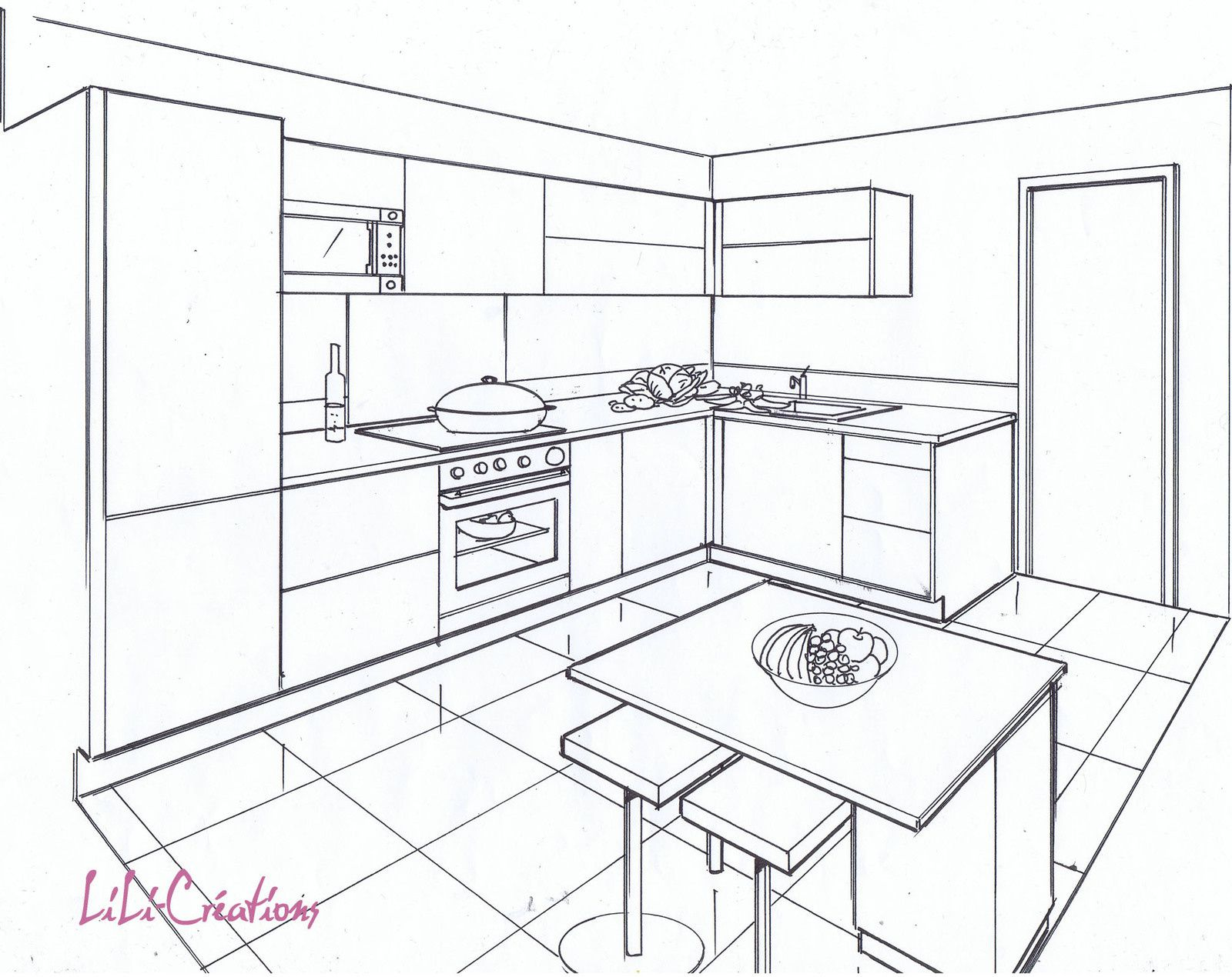 Exemple de dessin de piece en perspective des id es for Cuisine 3d facile