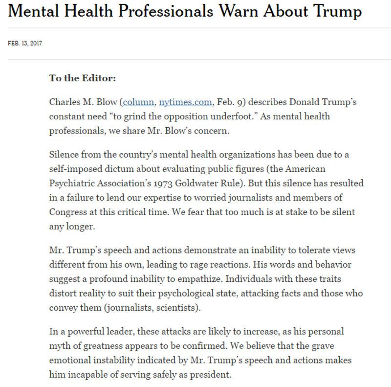 Un grupo de psicólogos y psiquiatras alertan de que Trump sufre 'una grave inestabilidad emocional'.