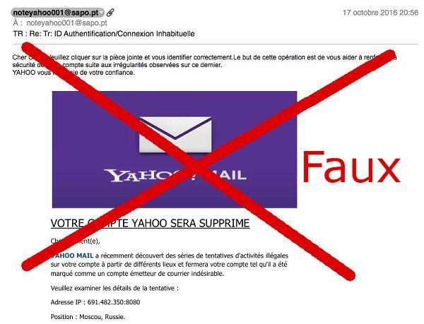 faux message yahoo mail