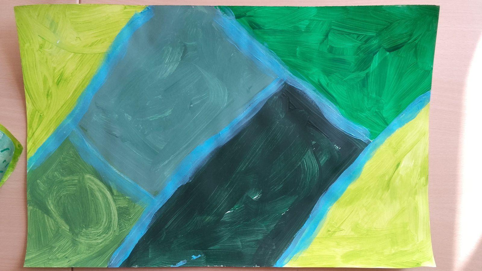 2. Réalisation du cerne pour séparer les champs (peinture bleue).