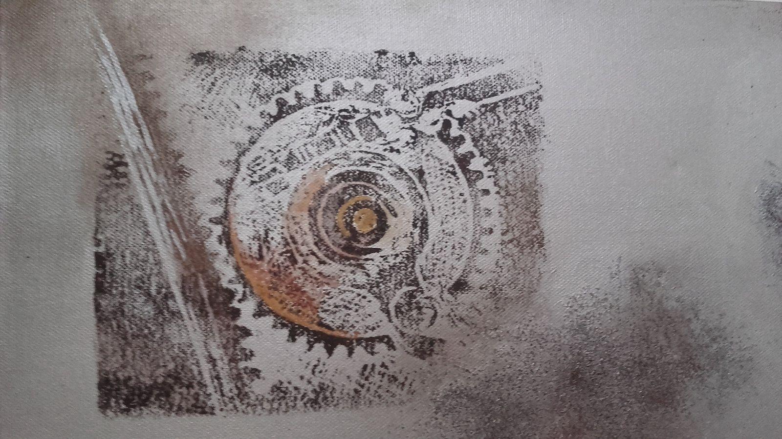 Technique mixte (acrylique sur toile, sable, gravure) - 2012 - 40 x 80 cm