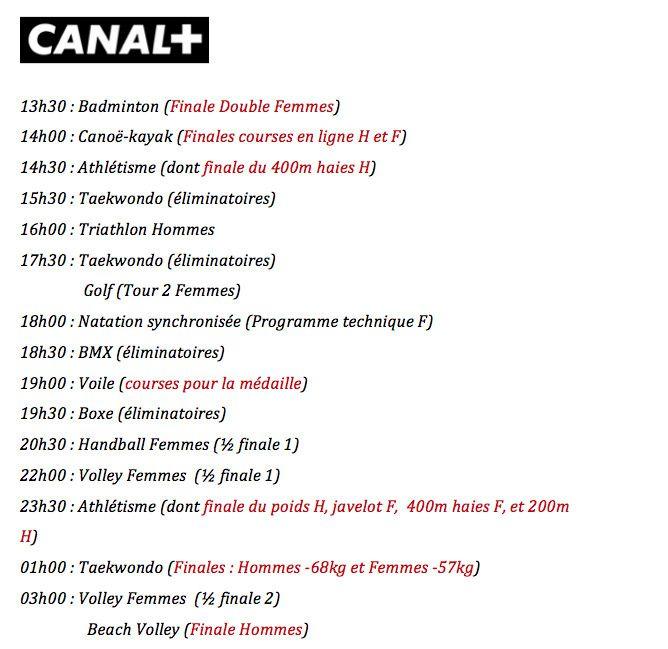 J.O. de Rio 2016 - Le programme complet du jeudi 18 août sur les antennes du Groupe Canal+