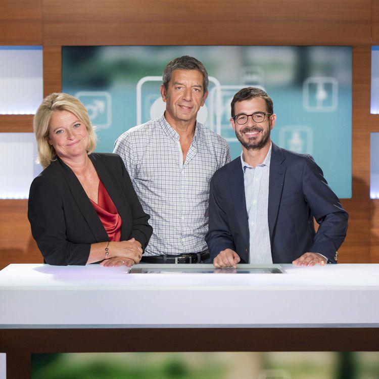 Marina Carrère d'Encausse, Michel Cymes et Benoît Thevenet (Crédit photo : Nathalie Guyon / FTV)