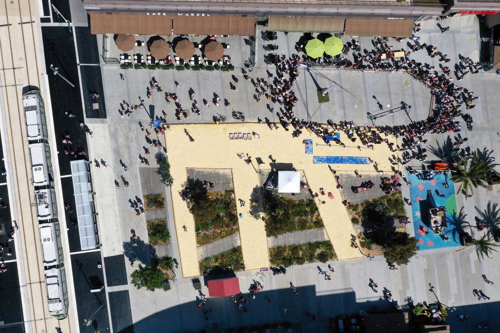 Inauguration officielle du Tramway de Caen tant atendue ce 27 juillet. photo aérienne François Monier