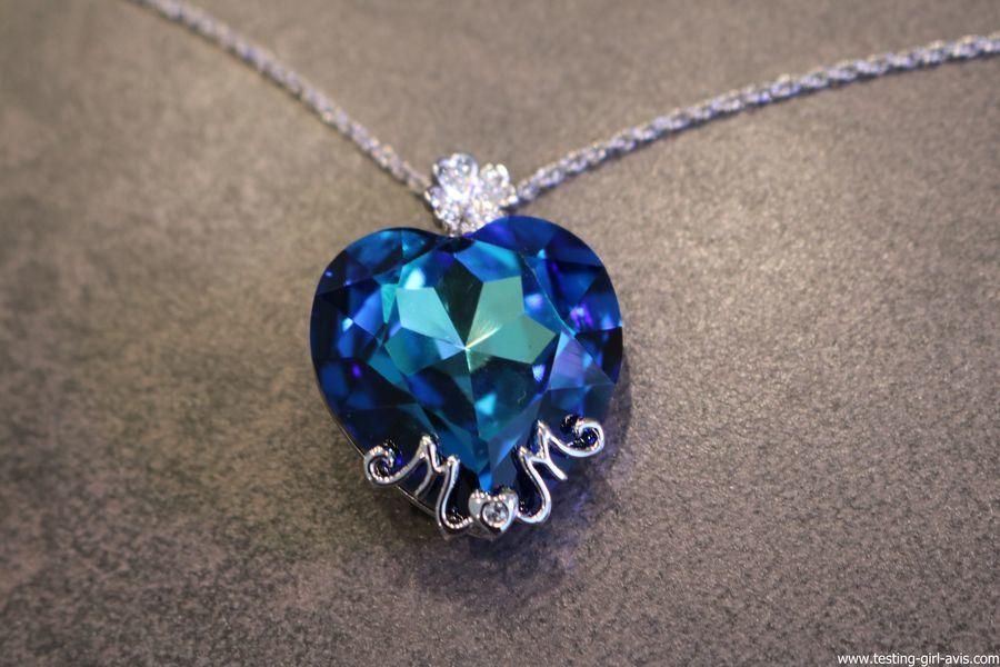 """Cadeau fête des mères : Et pourquoi pas un collier coeur Swarovski """"Maman je t'aime"""" de Lady Colour ?"""