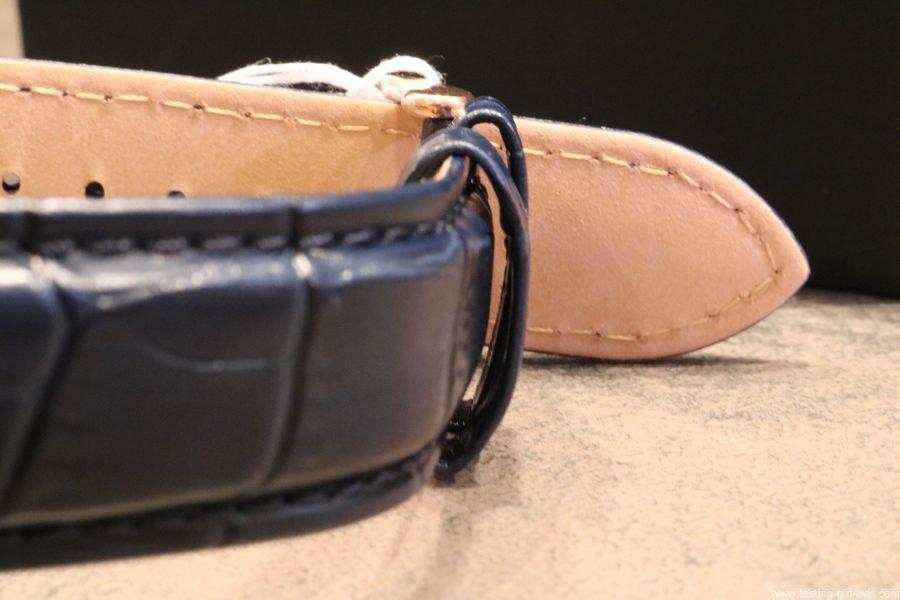 montre homme pierre lannier elegance chrono bleu cuir facon croco