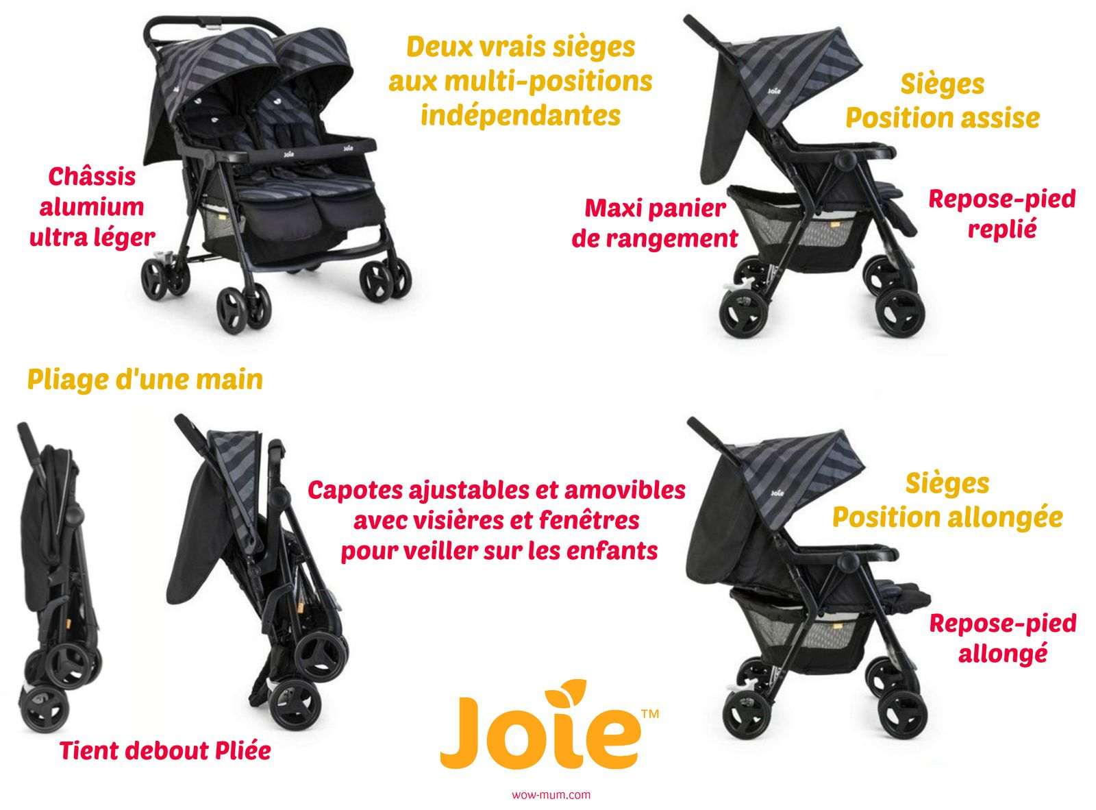 La poussette double Aire Twin Licorice de Joie