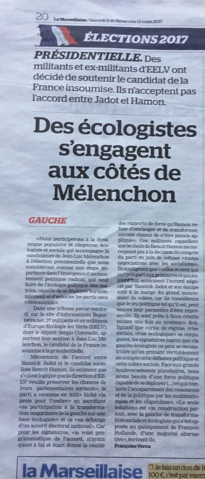 """La Marseillaise: MÉLENCHON candidat de """"combat"""""""