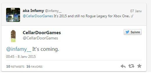 Rogue Legacy annoncé sur Xbox One