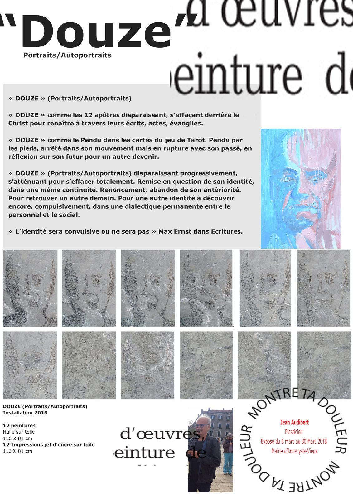 """Exposition """"Douze"""" /12 peintures/12 impressions jet d'encre sur toile /Mars 2018/Hôtel de ville d'Annecy-le-Vieux"""