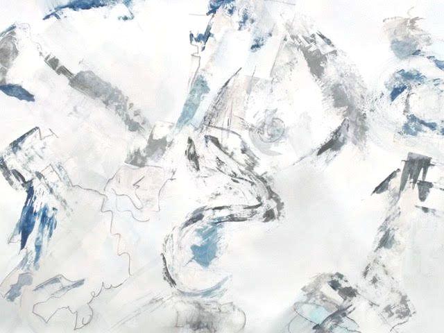 Marie Christine Liset/ Extraire la dérision...papier blanc, peinture gouache, fusain comprimé.