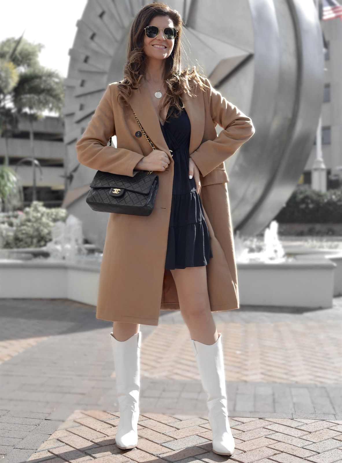 A camel coat and black dress for February