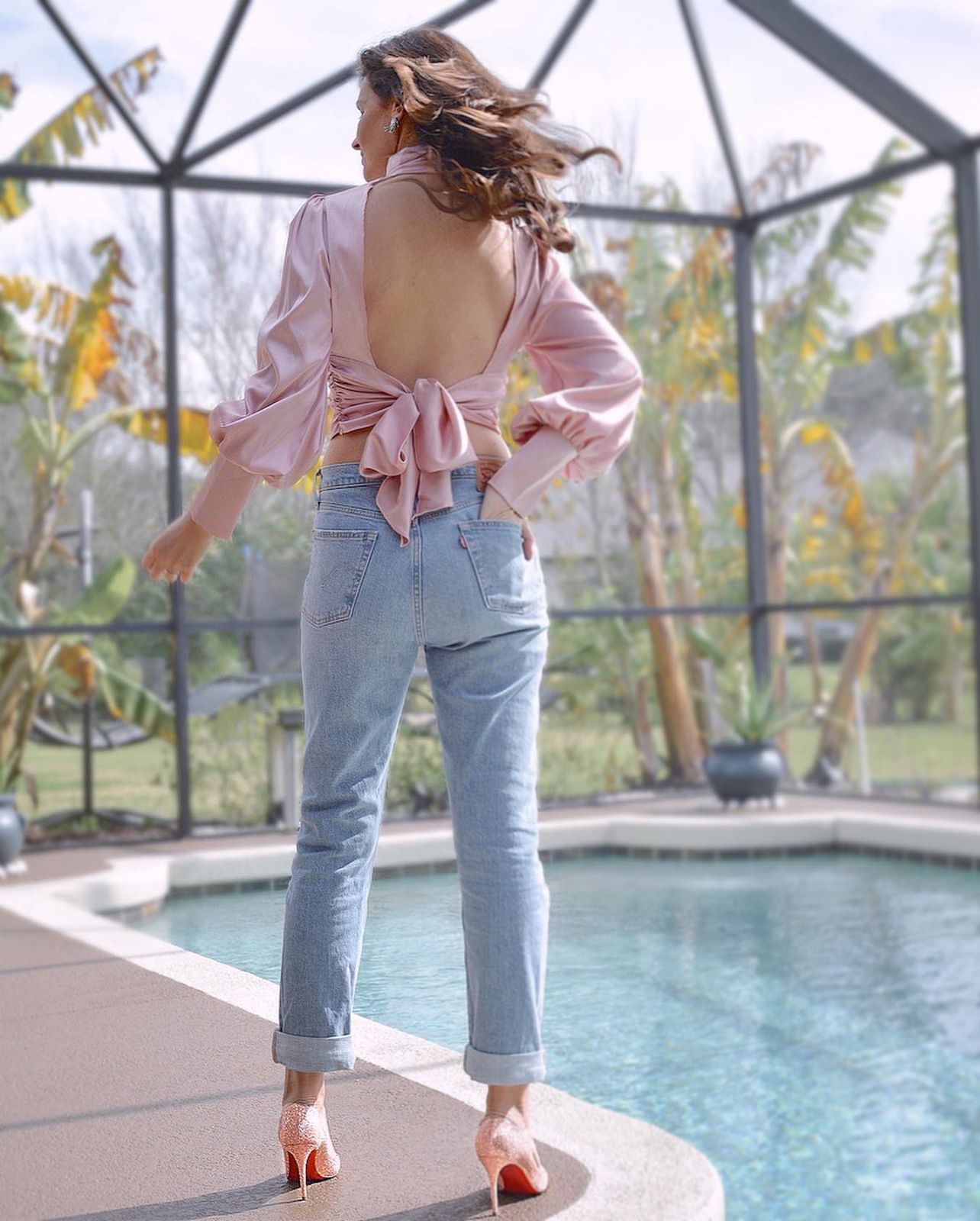 Denim and powder pink for Valentine's day