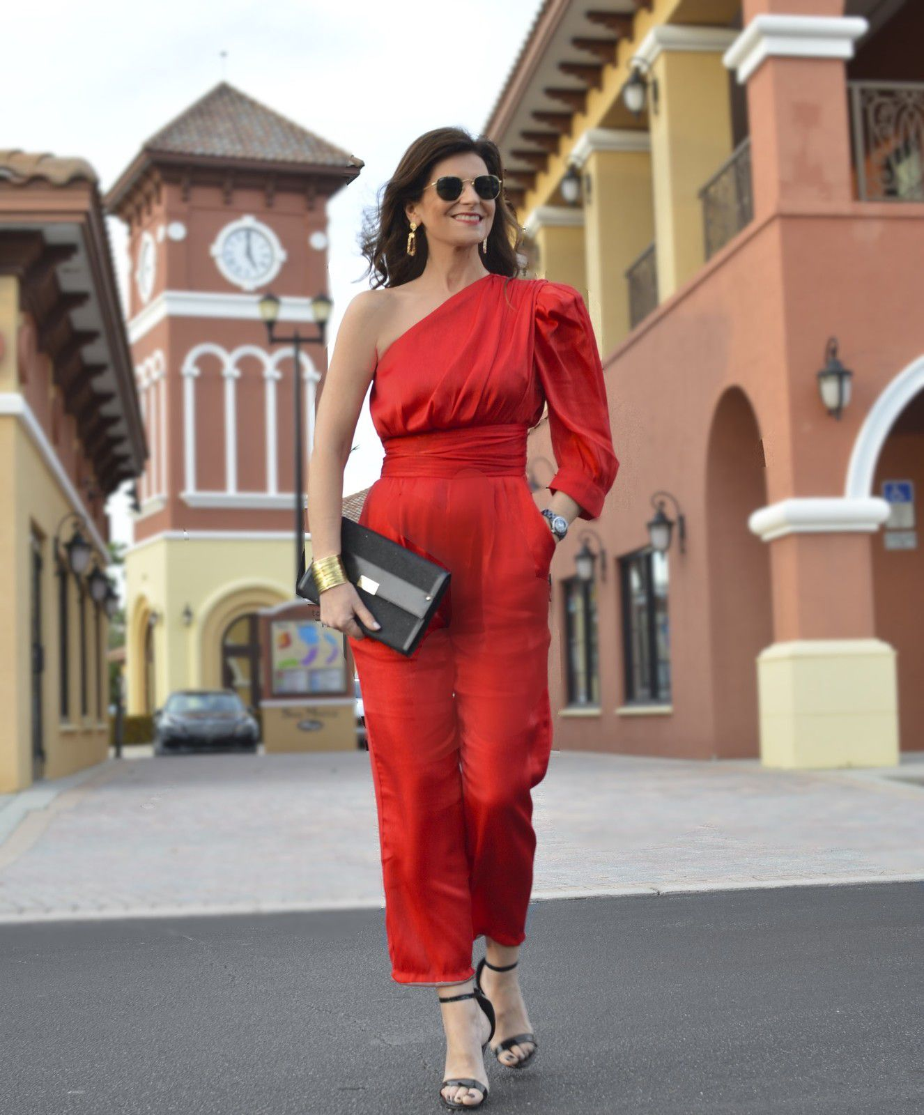 Red jumpsuit for Valentine's, Galentine's or a day to yourself