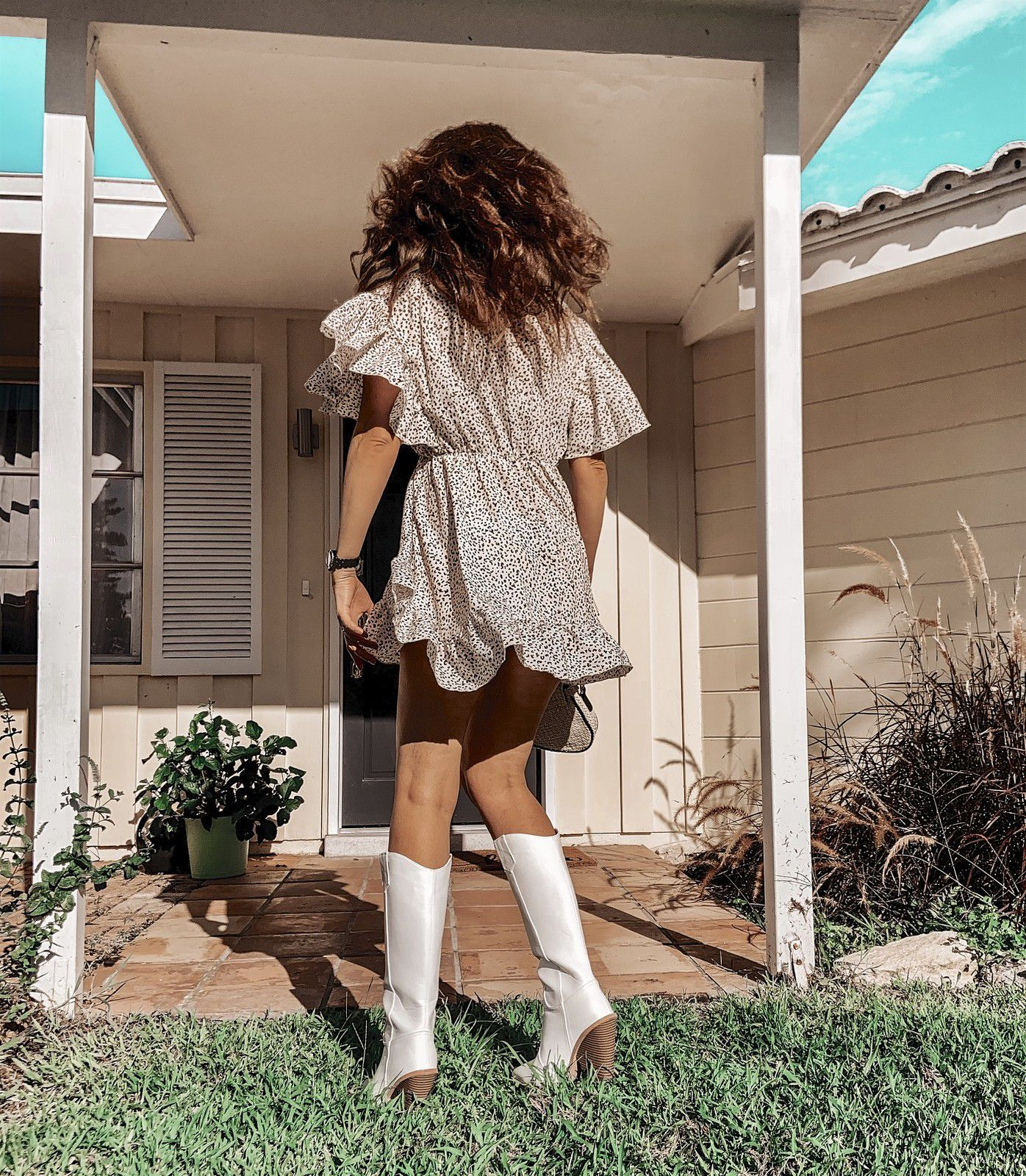 Summer leopard print dress with boots