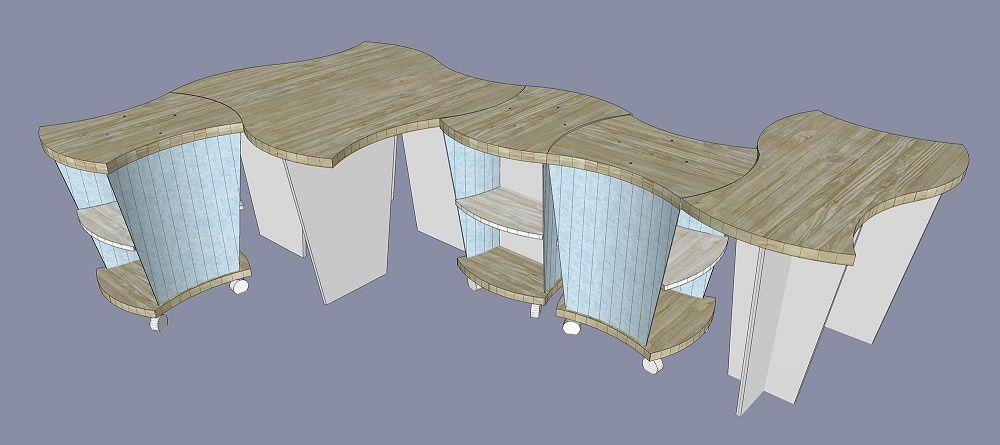 Mobilier sur mesure pour un usage approprié et surtout non figé.  Meubles, étagères et tables peuvent être utilisésde façon isolée mais aussi combinés presque à l'infini selon les besoins, les expositions, les saisons, les produits à vendre.  Un espace vivant et adaptable.