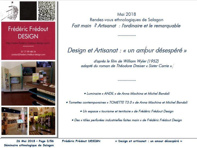 Design et Artisanat : un amour désespéré  - Intervention de Frédéric Frédout au séminaire annuel du Prieuré de Salagon