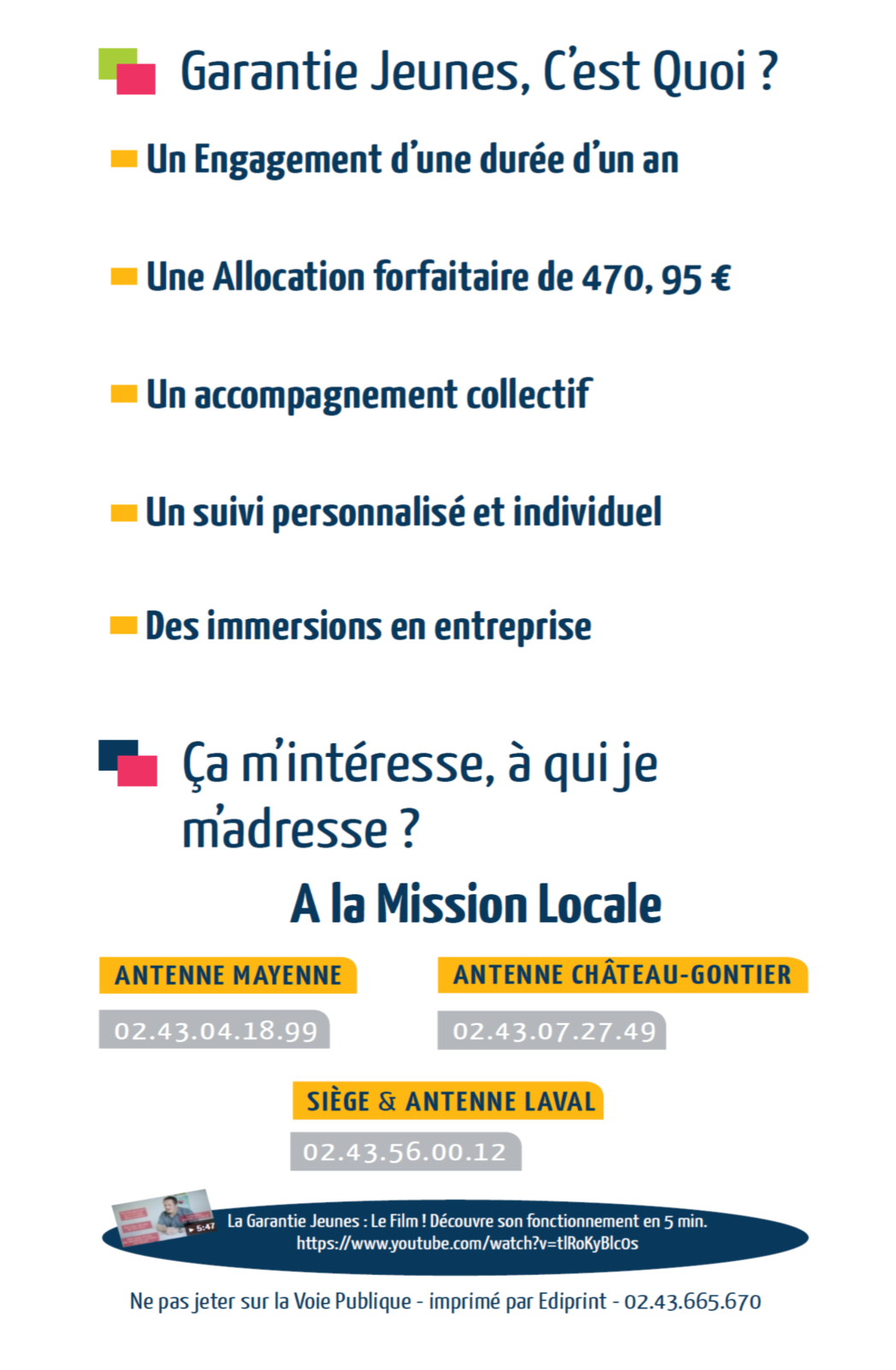 La Garantie Jeunes : un dispositif à promouvoir pour les jeunes de votre territoire / Mission Locale 53