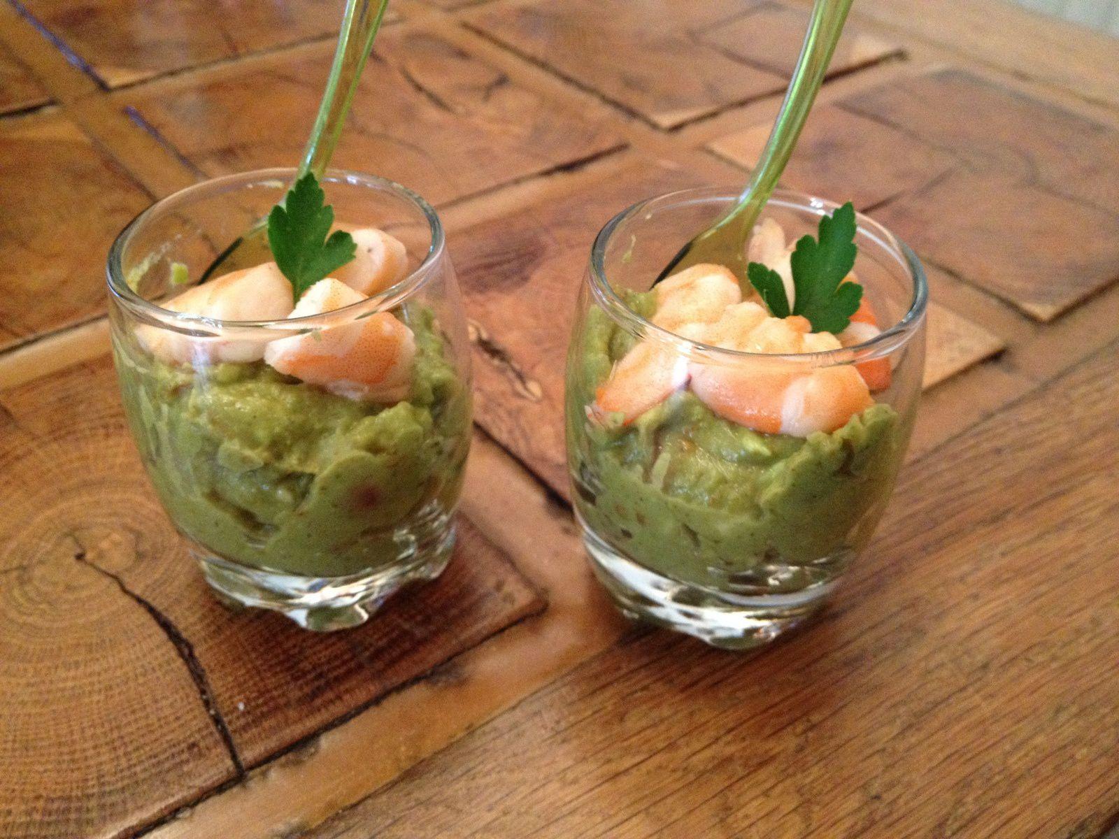 Verrines guacamole et crevettes