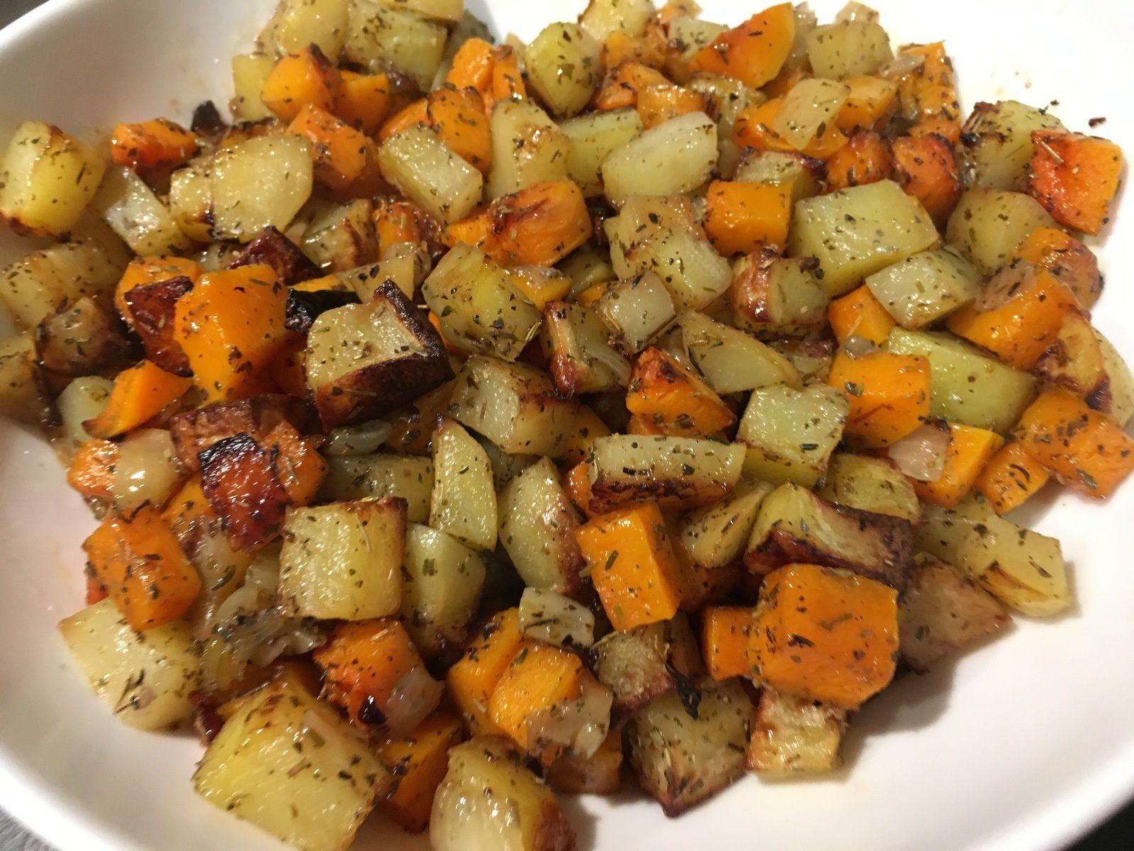 Butternut et pommes de terre rôties au four