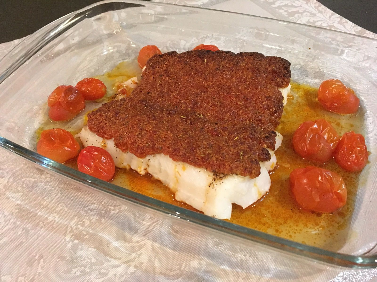 Dos de cabillaud en croûte de chorizo et parmesan