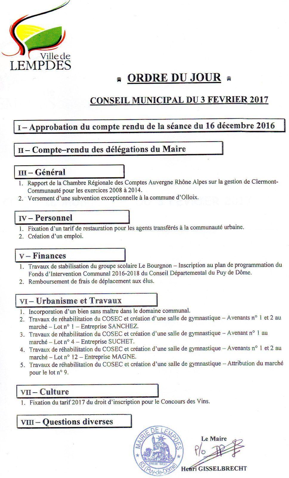 Conseil Municipal 3 Février 2017 19h Salle Voûtée