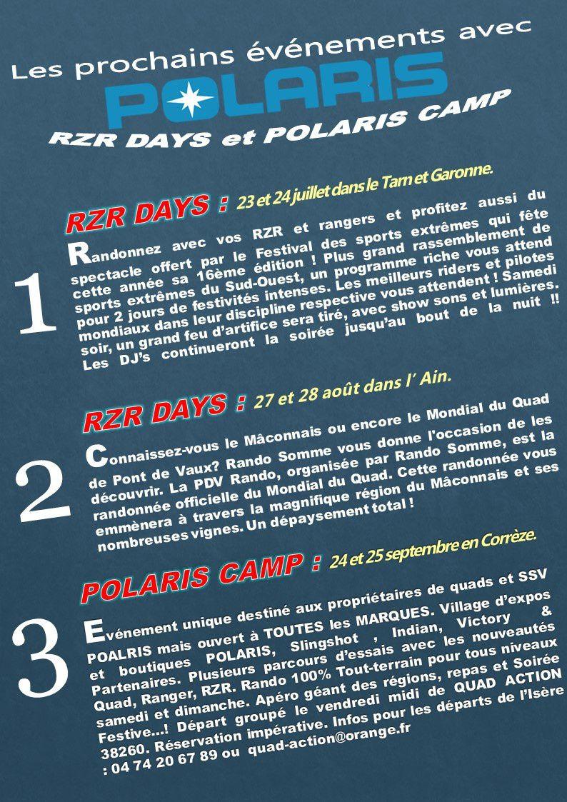Evénements POLARIS à venir, RZR Days et Polaris Camp 2016