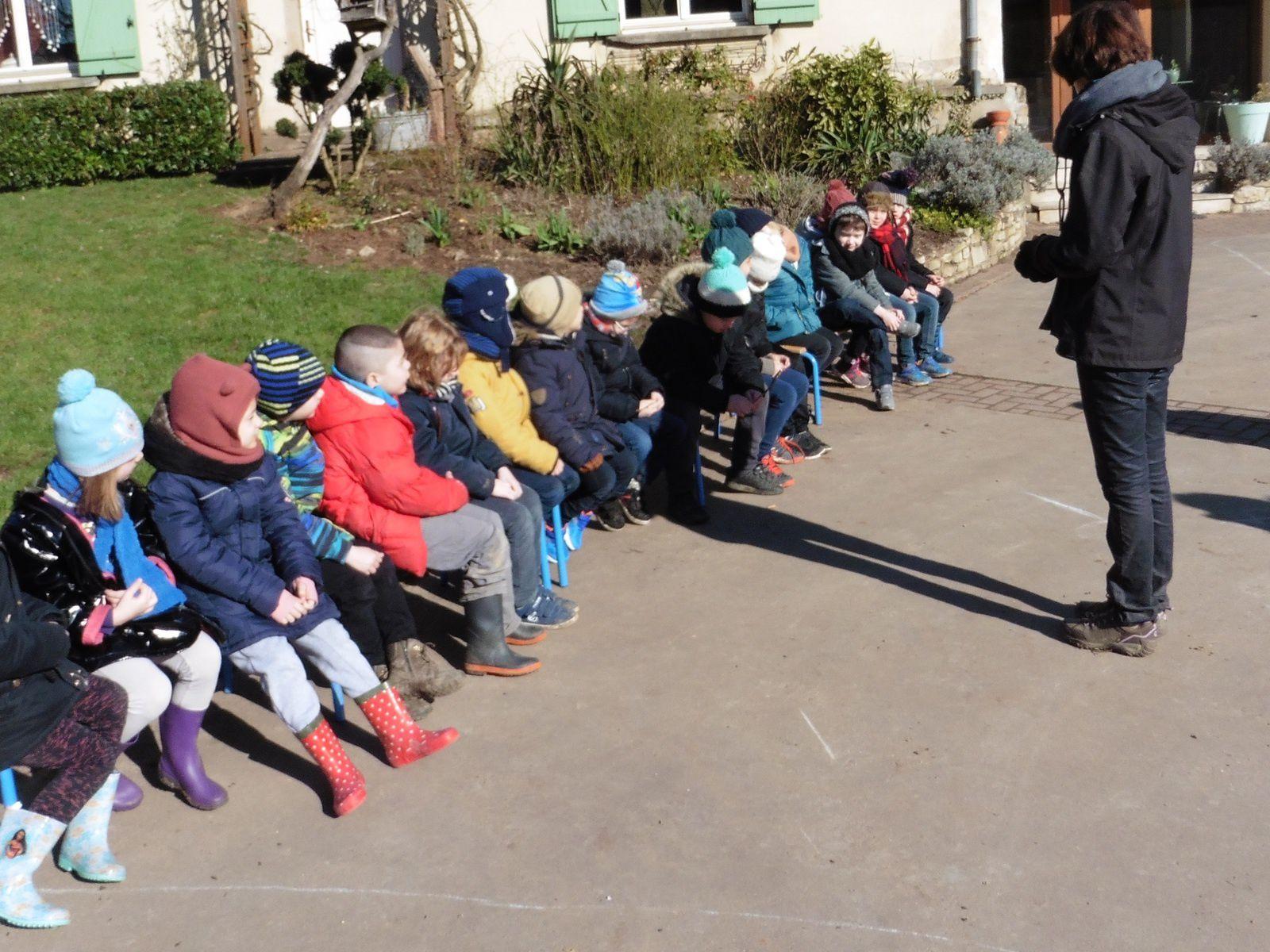 Les enfants écoutent attentivement le déroulement de la journée à la ferme encadrée par Marie, la propriétaire des lieux avec son époux ... Joseph! Je ne risque pas d'oublier pas leurs prénoms ;)