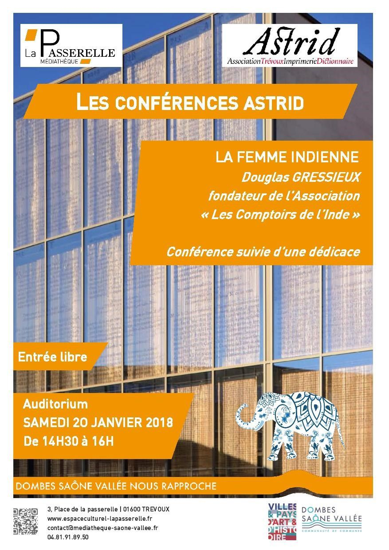 "Conférence : Samedi 20 Janvier 2018 - ""La femme indienne"""