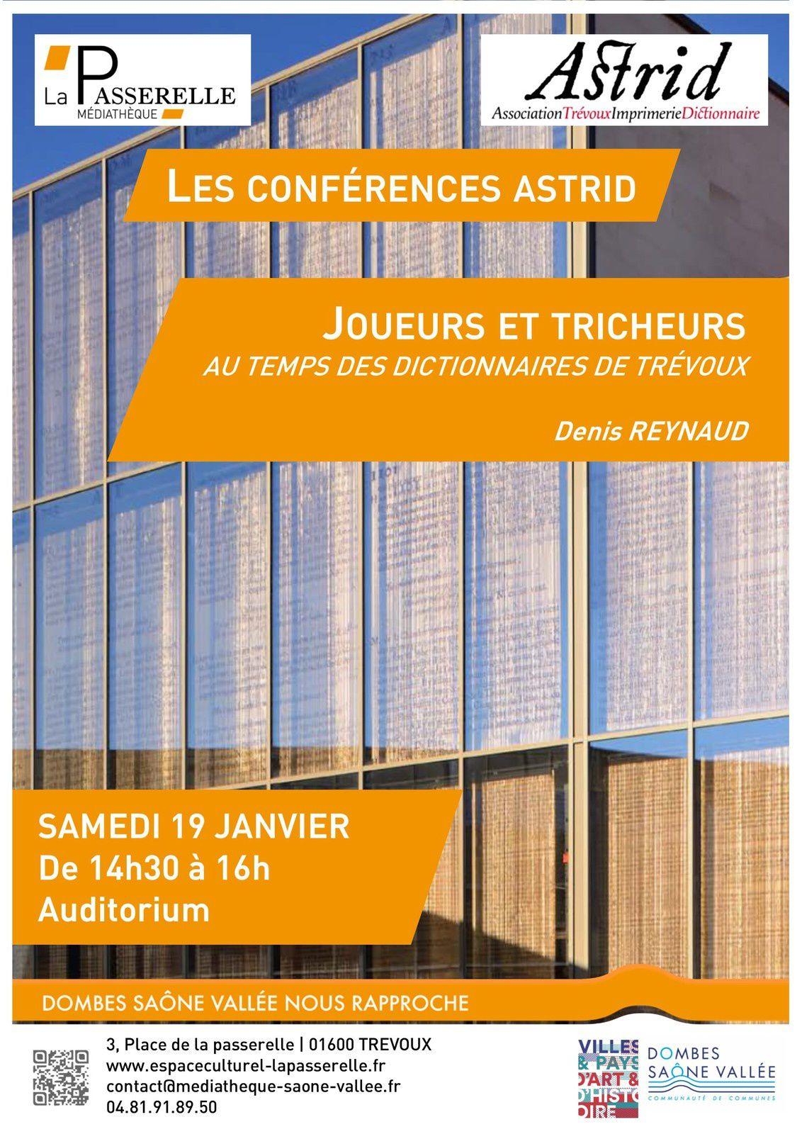 """CONFERENCE LE SAMEDI 19 JANVIER :  """"JOUEURS ET TRICHEURS AU TEMPS DES DICTIONNAIRES DE TREVOUX"""""""