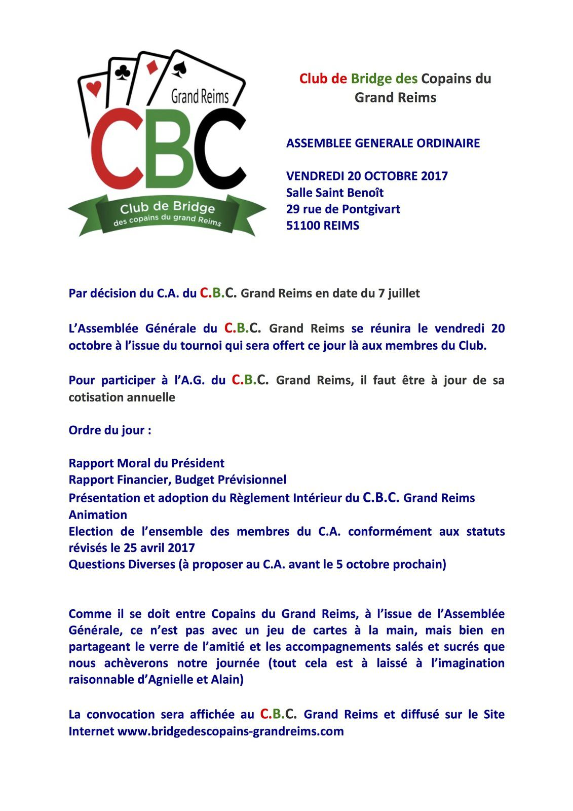 CONVOCATION ASSEMBLEE GENERALE DU VENDREDI 20 OCTOBRE 2017