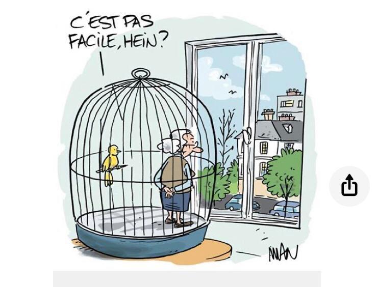 Le clin d'oeil de Laurent. Pas facile de se sentir en cage, sous cloche. Pas facile