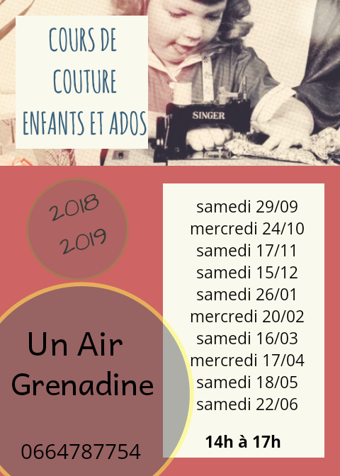 plaaning cours de couture 2018/2019