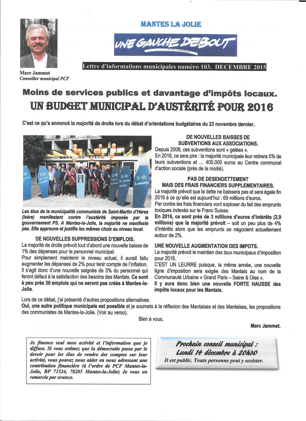 Mantes-la-Jolie. Un budget d'austérité pour 2016