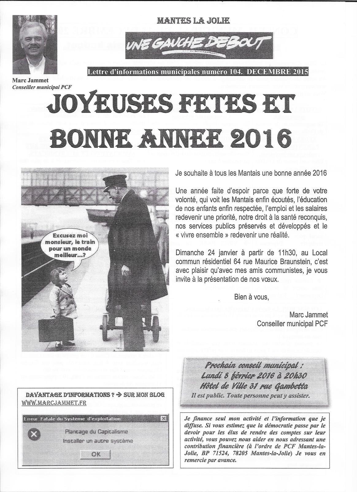 Mantes-la-Jolie. Lettre d'information municipale de notre élu communiste