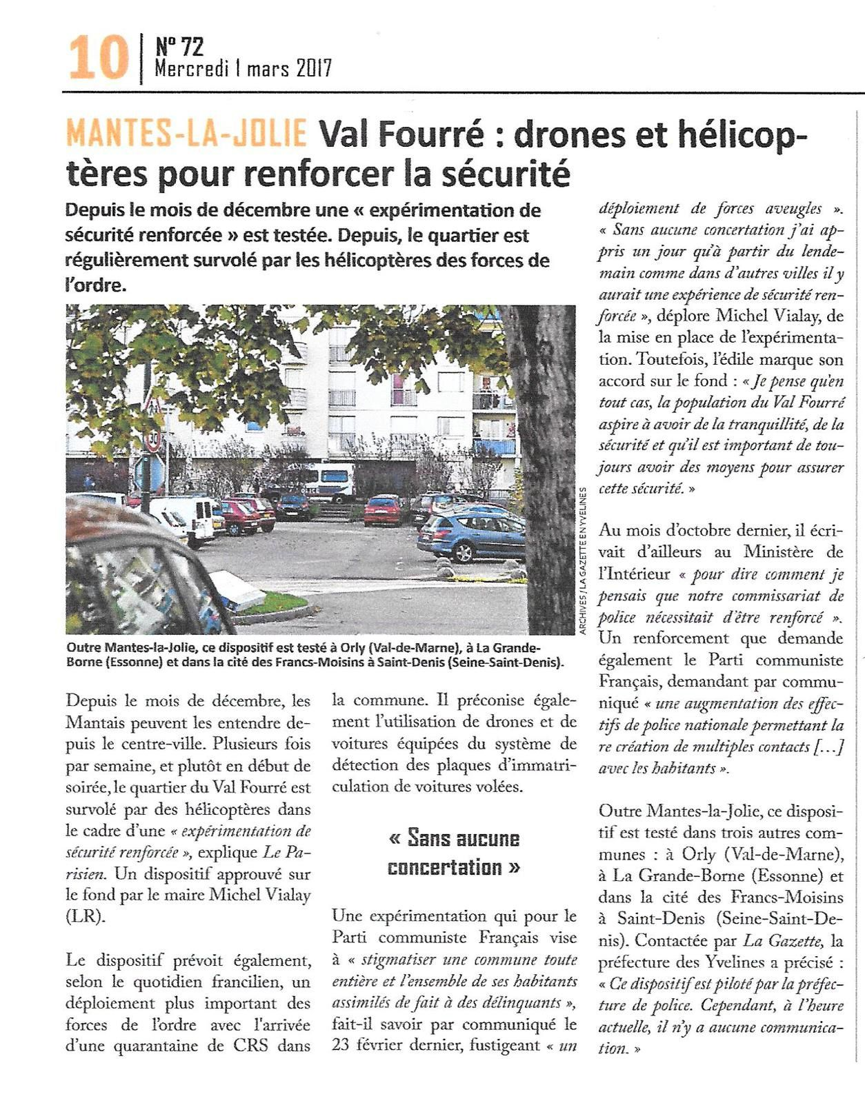 La Gazette des Yvelines. Drones et hélicoptères pour renforcer la sécurité.