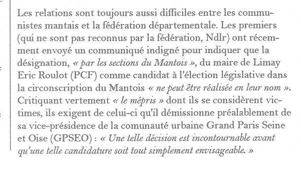 La Gazette des Yvelines. Les communistes mantais ne soutiennent pas Eric Roulot